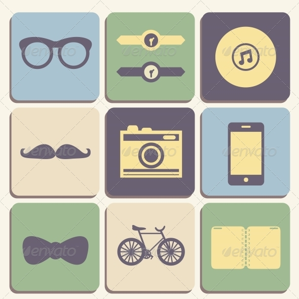 GraphicRiver Hipster Icons Set 6342839