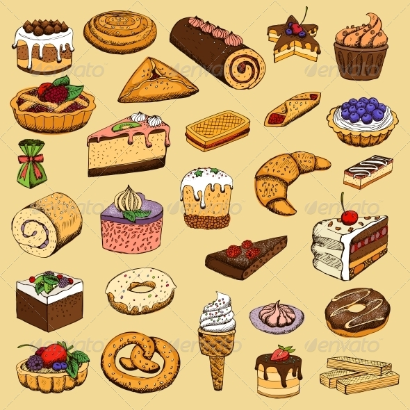 GraphicRiver Collection of Sweet Pastries 6342850