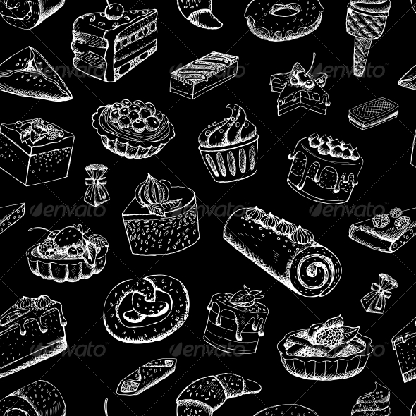 GraphicRiver Sweet Pastries on Chalkboard 6342852