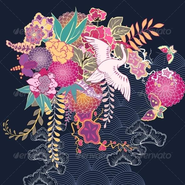 GraphicRiver Decorative Kimono Floral Motif 6342855