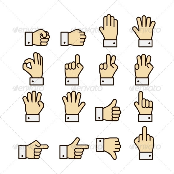 GraphicRiver Hand Gestures Icons Set Contrast Color 6342865