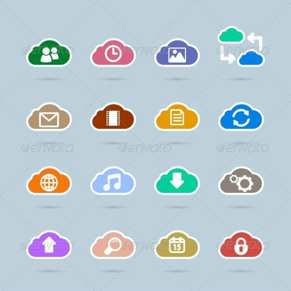 GraphicRiver Set of Cloud Technology Icons 6342866