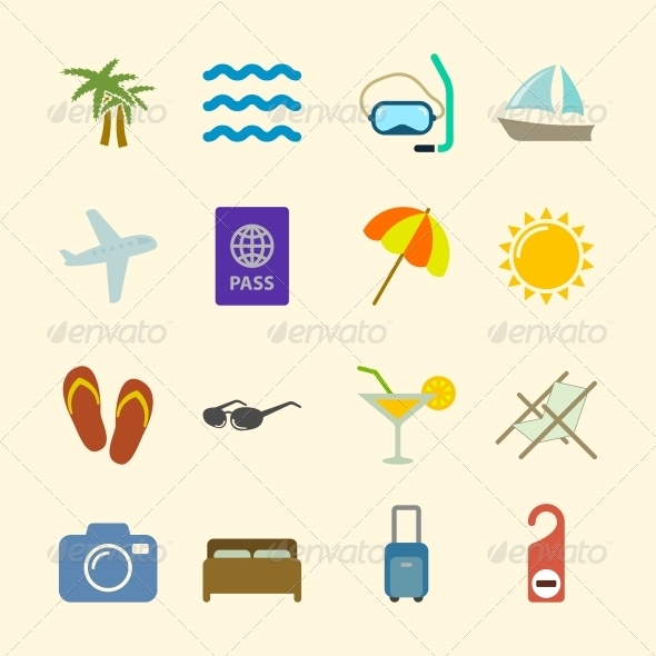 GraphicRiver Set of Holidays Icons Contrast Color 6342874