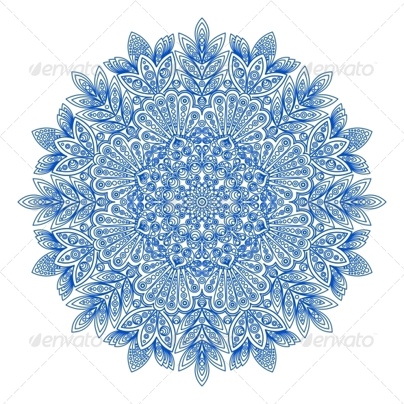 GraphicRiver Ornamental Round Snowflake Pattern 6343007