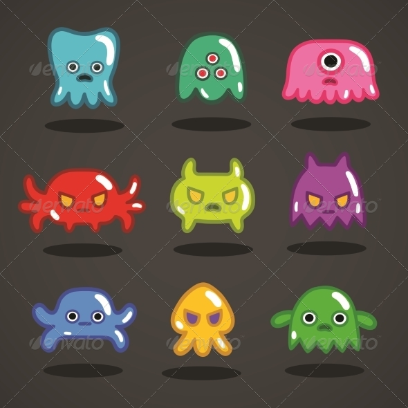 GraphicRiver Funny Game Monsters Collection 6343010