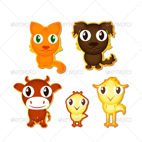 GraphicRiver Sticker with the Cartoon Animals 6343326