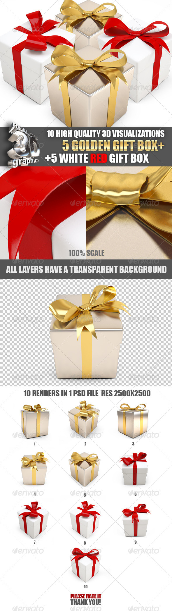 GraphicRiver Big set of 3D gift boxes gold and white 6343449