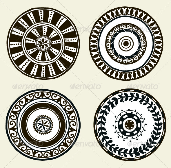 GraphicRiver Set of Ethnic Doodle Dishes 6344295