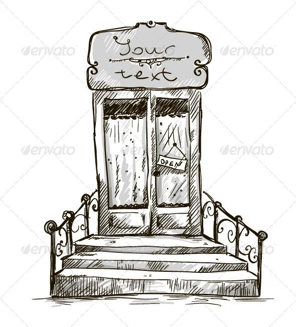 Entrance Door Shop Window Drawing