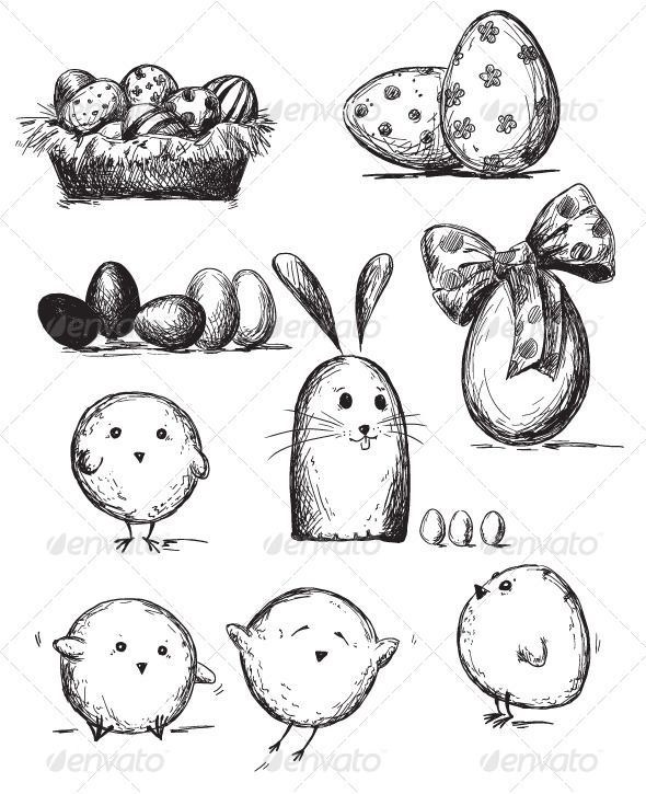 GraphicRiver Selection of Easter Drawings 6344584