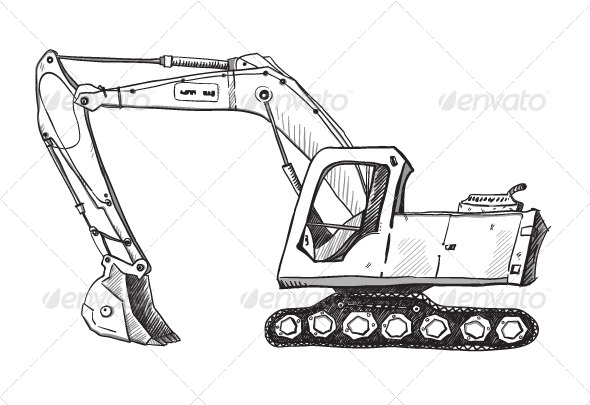 GraphicRiver Doodle Excavator Drawing 6344585