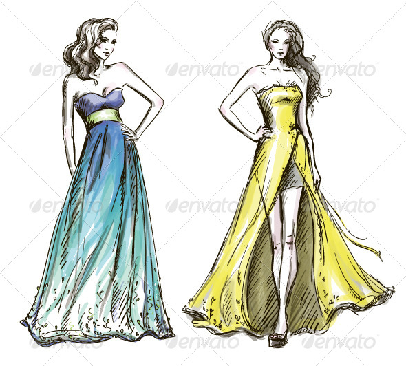 GraphicRiver Fashion Illustration Long Dress Catwalk 6344593