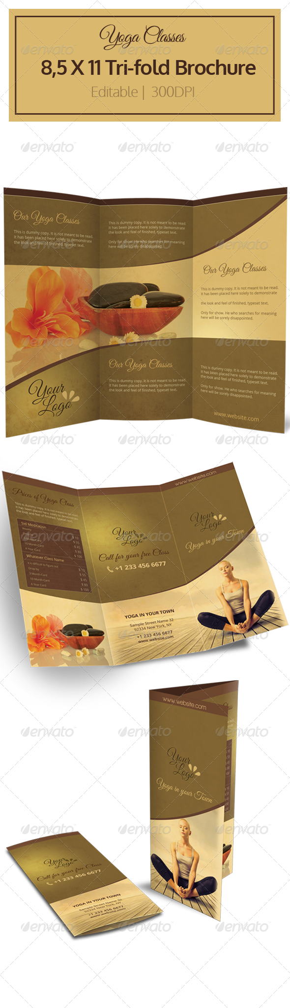 yoga tri fold brochure graphicriver. Black Bedroom Furniture Sets. Home Design Ideas