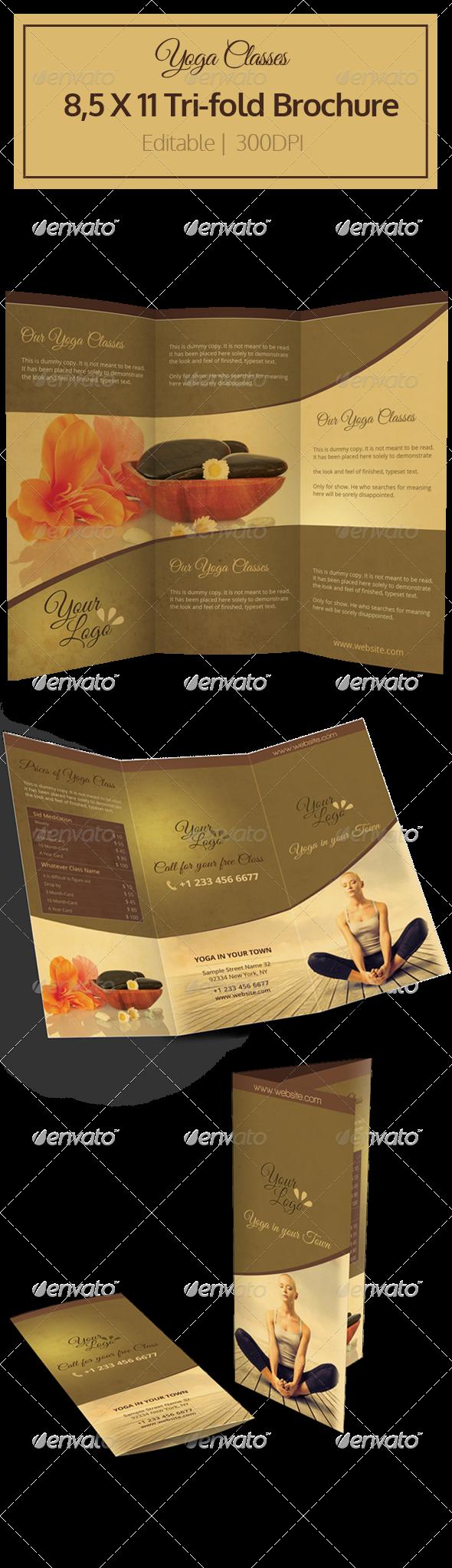 GraphicRiver Yoga Tri-fold Brochure 6305901
