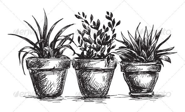 GraphicRiver Set of Flower Pots 6344686