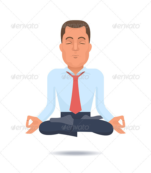 GraphicRiver Businessman in a Lotus Position 6345031