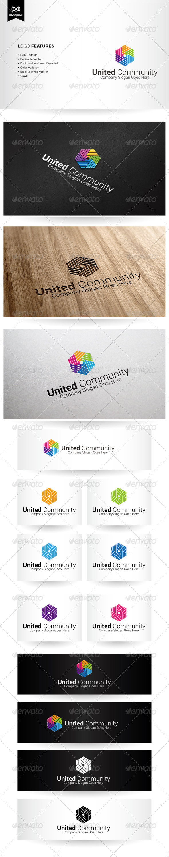 GraphicRiver Colorful Hands and Unity Logo 6345270