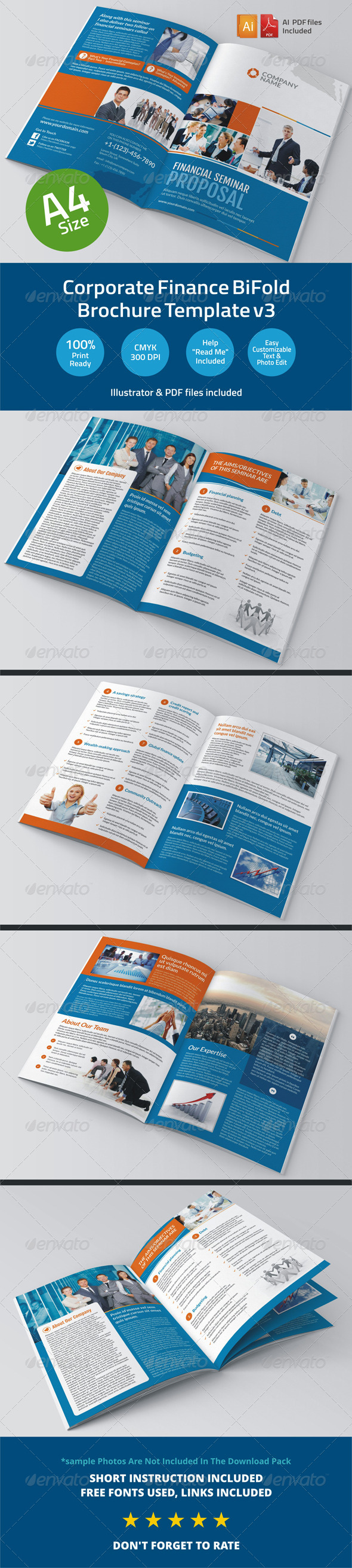 GraphicRiver Corporate Finance BiFold Brochure Template v3 6345585