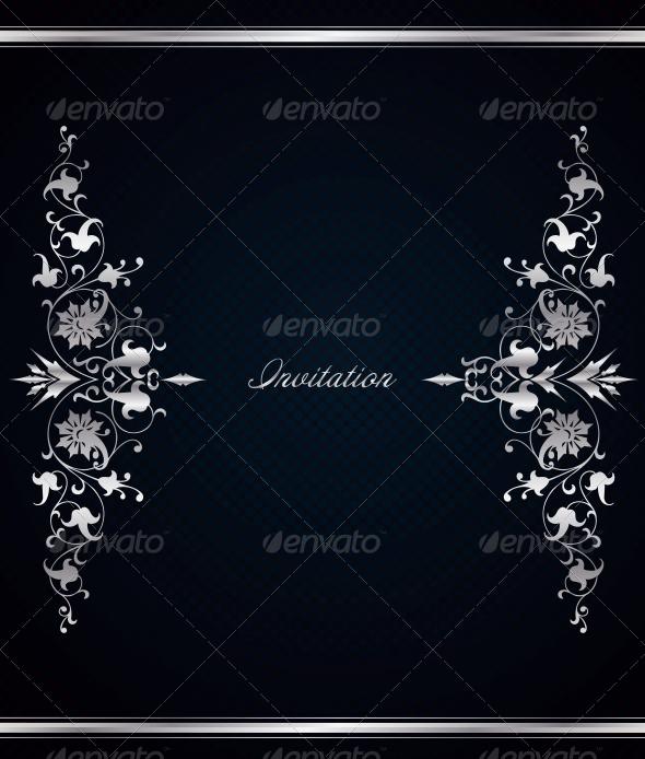 GraphicRiver Vintage Floral Frame on Vector Blue Background 6345700