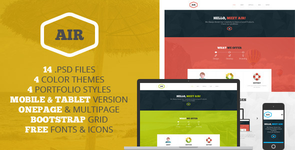 AIR - OnePage & Multipage PSD template - PSD Templates