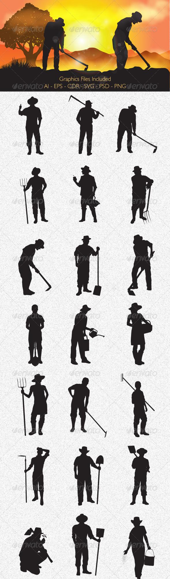 GraphicRiver Farmer Silhouettes 6345954
