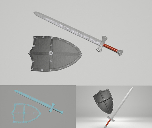 3DOcean Medieval Sword & Shield 6346028