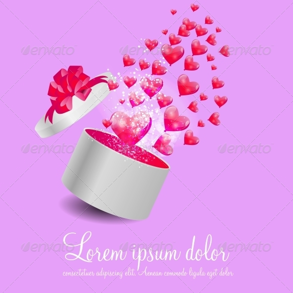 GraphicRiver Valentines Day Card with Gift Box and Heart Shaped 6346362