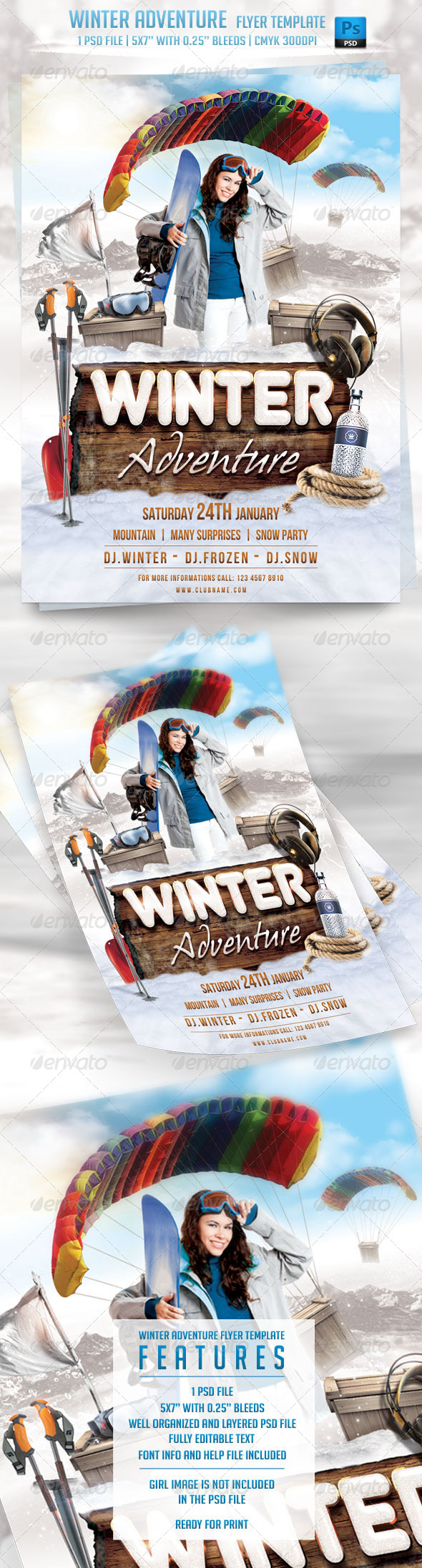 GraphicRiver Winter Adventure Flyer Template 6346697