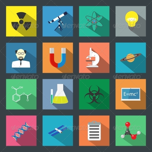 GraphicRiver Science Flat Icons Set 6347062