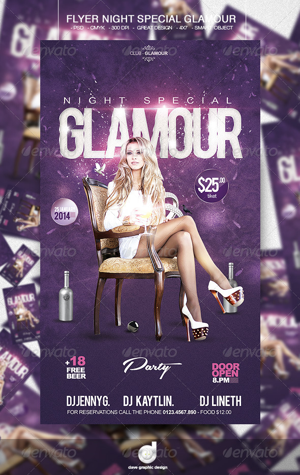 Flyer Night Special Glamour - Events Flyers