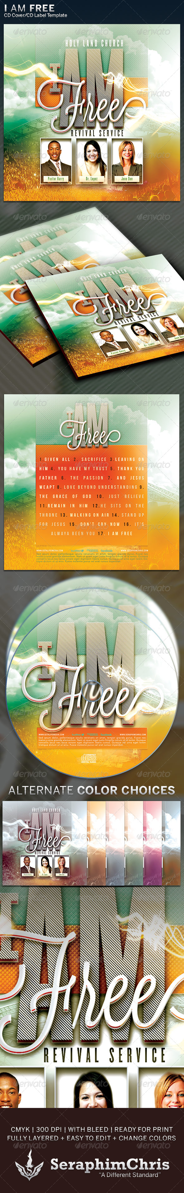 GraphicRiver I Am Free CD Cover Artwork Template 6348059