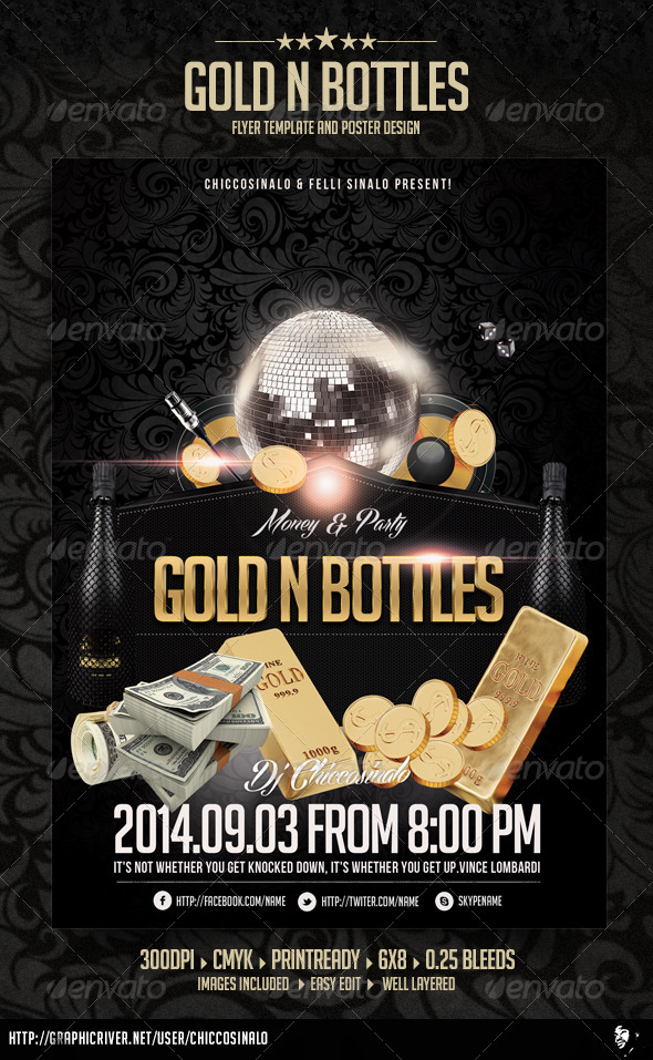 GraphicRiver Gold n Bottles Flyer Template 6348063
