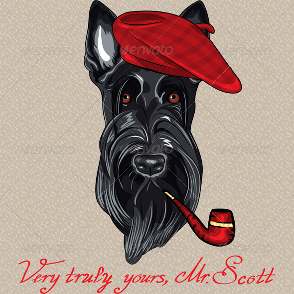 GraphicRiver Vector Hipster Dog Scottish Terrier 6348157
