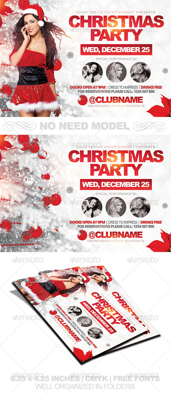 GraphicRiver Christmas Party Horizontal Flyer Template 6349321