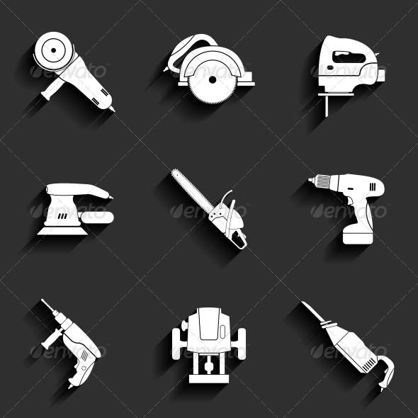 GraphicRiver Electric Tool Flat Icons Set 6349478