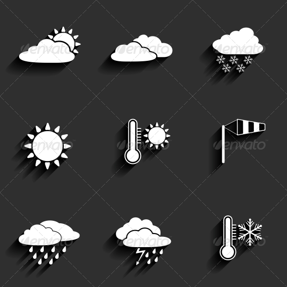 GraphicRiver Flat Design Style Weather Icons Set 6349499