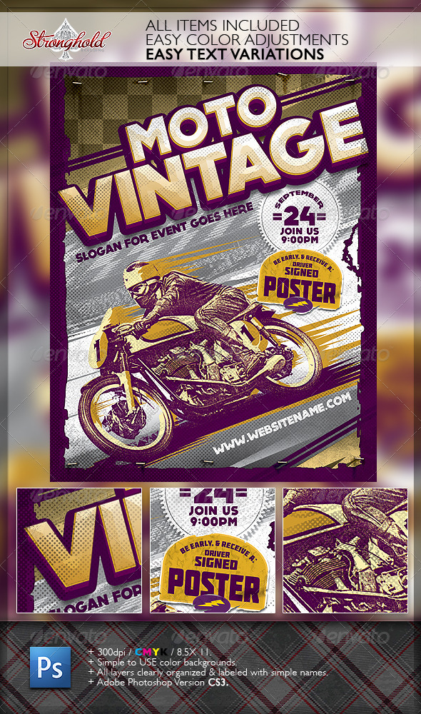 GraphicRiver Vintage Motorcycle Race Poster Template 6349512