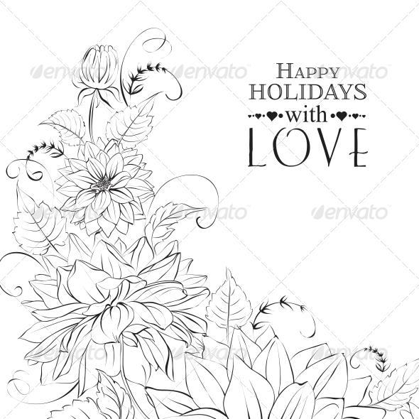 GraphicRiver Garland of Chrysanthemum Isolated 6349515