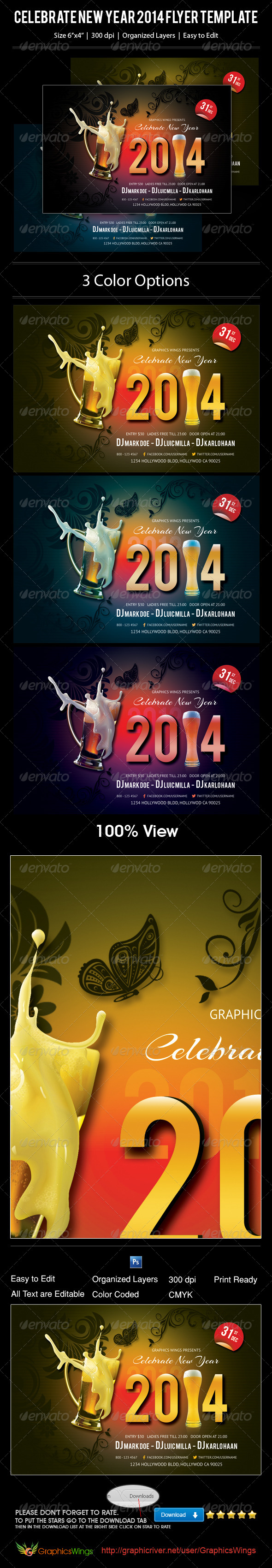 GraphicRiver Celebrate New Year 2014 Flyer Template 6350167