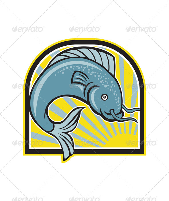 GraphicRiver Catfish Jumping Sunburst Cartoon 6350291