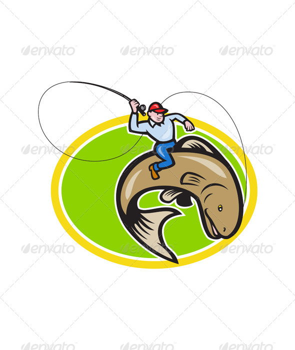 GraphicRiver Fly Fisherman Riding Trout Fish Cartoon 6350370