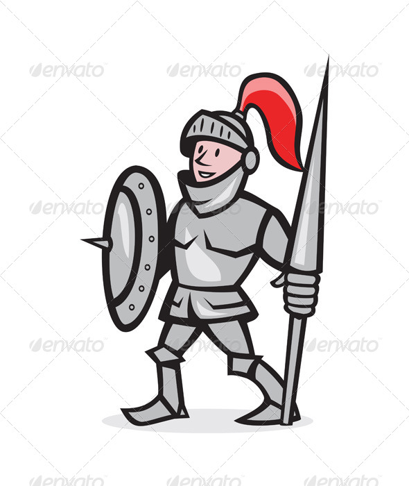 GraphicRiver Knight Shield Holding Lance Cartoon 6350387