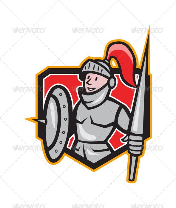 GraphicRiver Knight Shield Lance Crest Cartoon 6350402