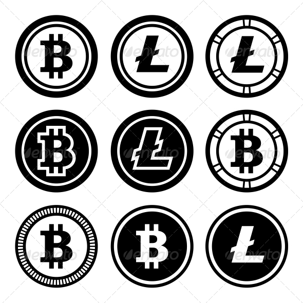 GraphicRiver Bitcoin and Litecoin Icons Set 6350891