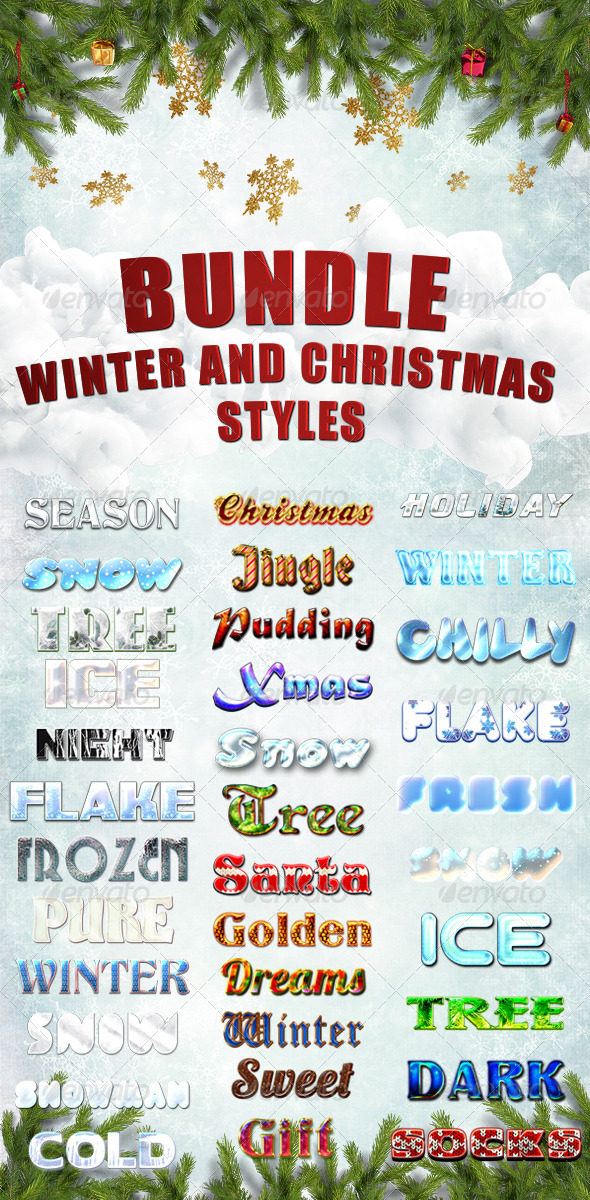 GraphicRiver Bundle Winter and Christmas Styles 6351333