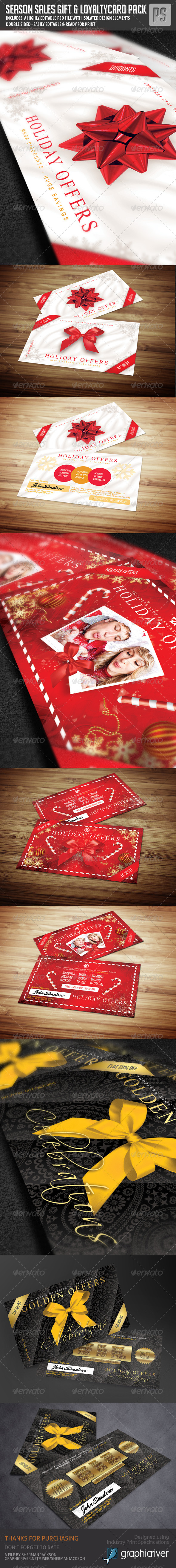 GraphicRiver Gift Card Loyalty Card Bundle 3in1 6351881