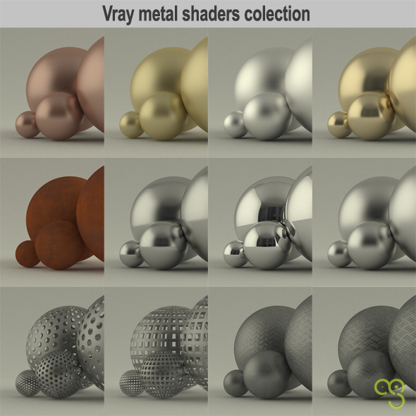 Vray metal shaders collection for 3ds max - 3DOcean Item for Sale