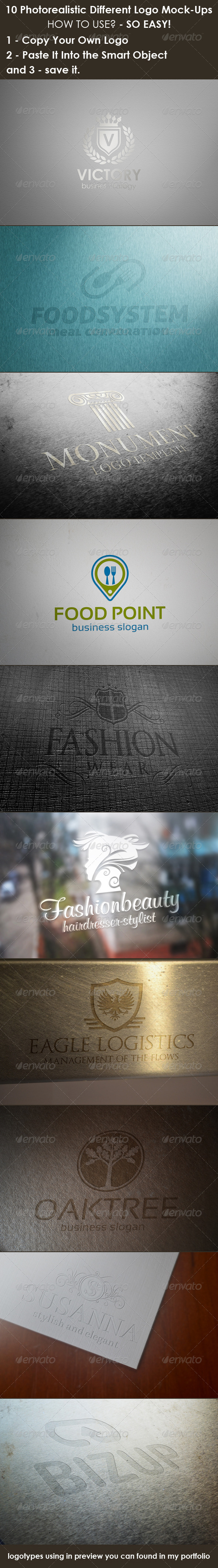 10 Photorealistic Different Logo Mock-Ups - Logo Product Mock-Ups