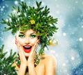 Christmas Woman. Christmas Holiday Hairstyle and Makeup - PhotoDune Item for Sale