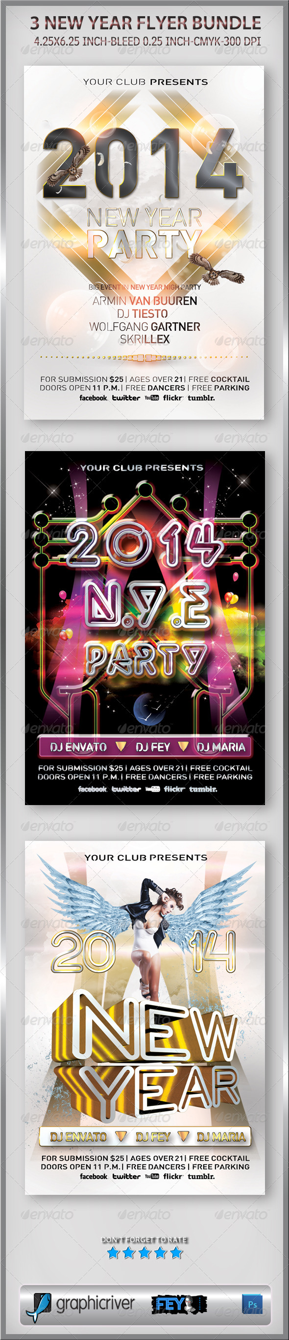 GraphicRiver 3 New Year Flyer Bundle 6353120